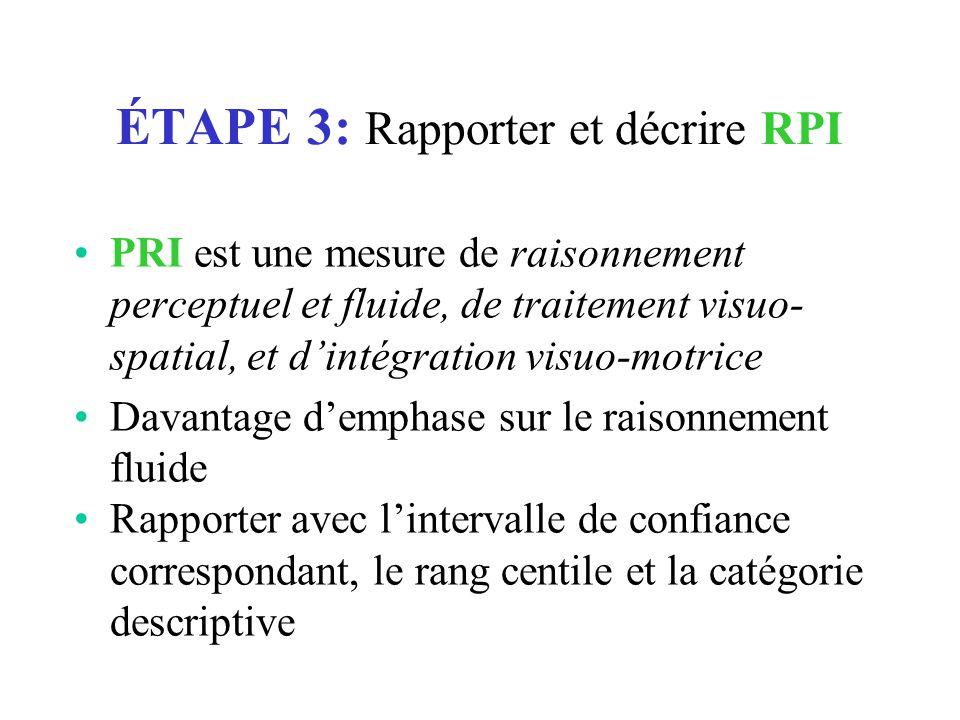 ÉTAPE 3: Rapporter et décrire RPI PRI est une mesure de raisonnement perceptuel et fluide, de traitement visuo- spatial, et d'intégration visuo-motric