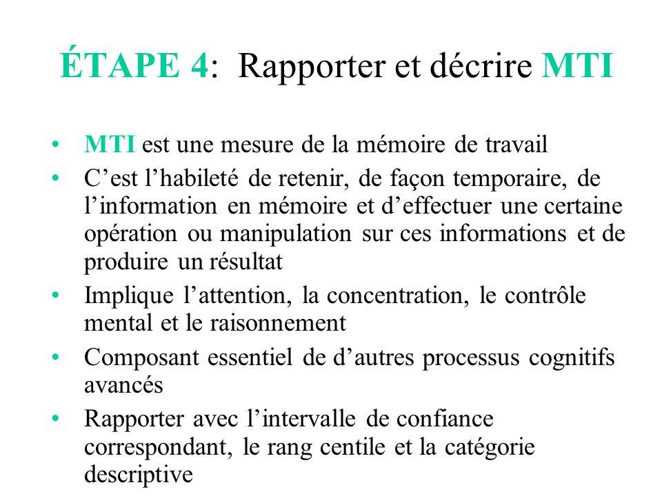 ÉTAPE 4: Rapporter et décrire MTI MTI est une mesure de la mémoire de travail C'est l'habileté de retenir, de façon temporaire, de l'information en mé