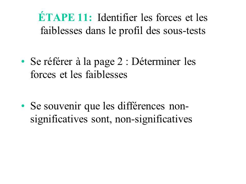 Se référer à la page 2 : Déterminer les forces et les faiblesses Se souvenir que les différences non- significatives sont, non-significatives ÉTAPE 11