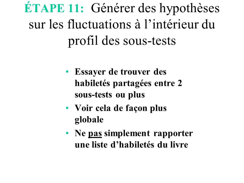 ÉTAPE 11: Générer des hypothèses sur les fluctuations à l'intérieur du profil des sous-tests Essayer de trouver des habiletés partagées entre 2 sous-t