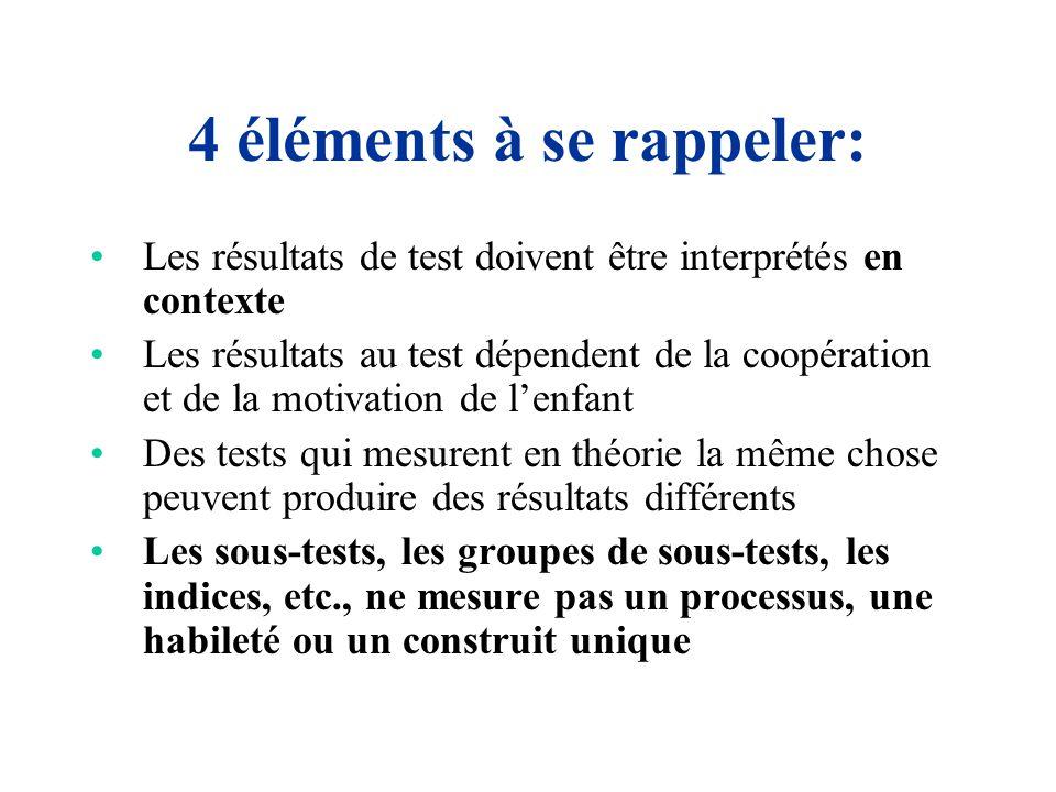 4 éléments à se rappeler: Les résultats de test doivent être interprétés en contexte Les résultats au test dépendent de la coopération et de la motiva