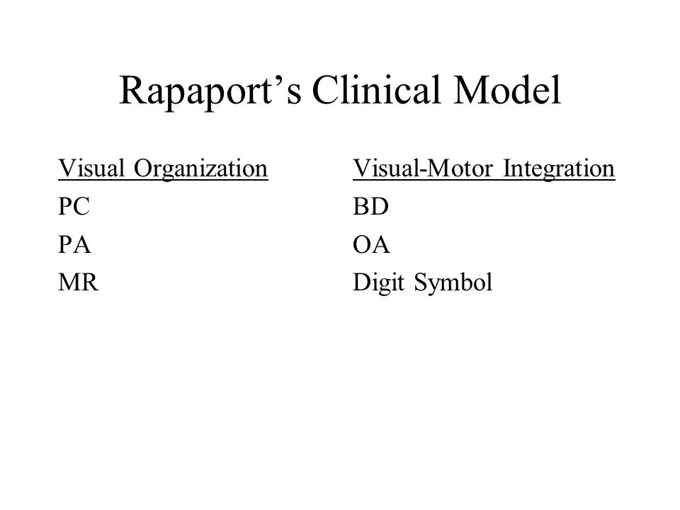 Rapaport's Clinical Model Visual Organization PC PA MR Visual-Motor Integration BD OA Digit Symbol