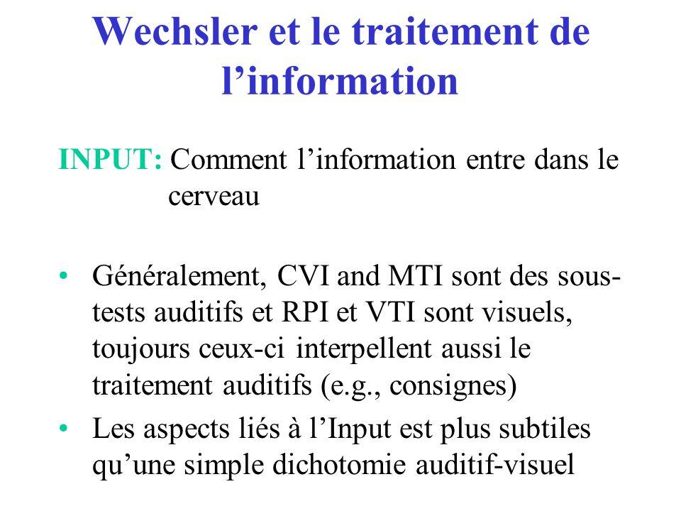 Wechsler et le traitement de l'information INPUT: Comment l'information entre dans le cerveau Généralement, CVI and MTI sont des sous- tests auditifs