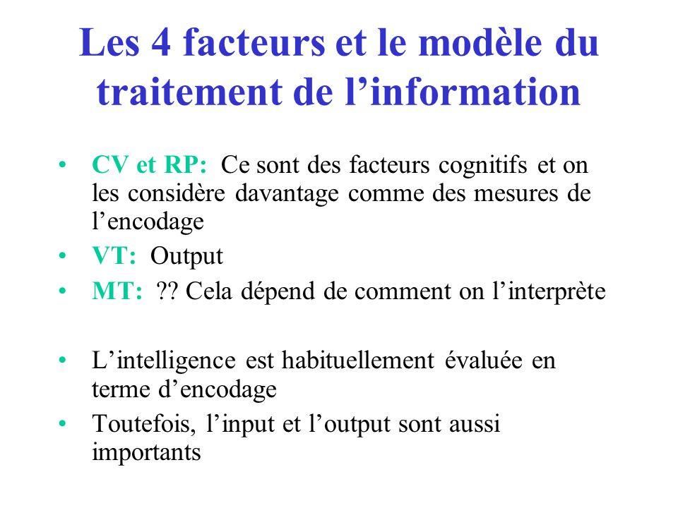 Les 4 facteurs et le modèle du traitement de l'information CV et RP: Ce sont des facteurs cognitifs et on les considère davantage comme des mesures de