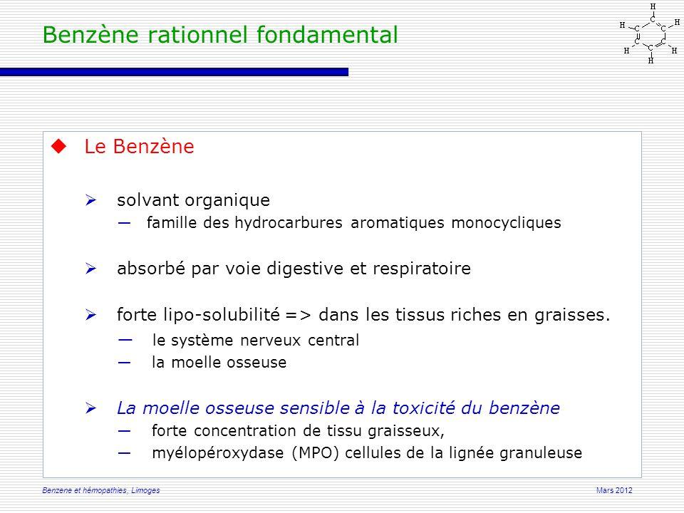 Mars 2012Benzene et hémopathies, Limoges  Le Benzène  solvant organique ―famille des hydrocarbures aromatiques monocycliques  absorbé par voie digestive et respiratoire  forte lipo-solubilité => dans les tissus riches en graisses.