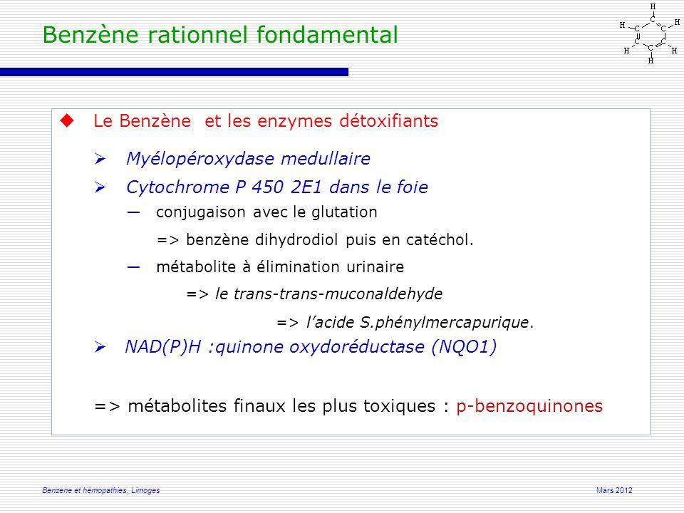 Mars 2012Benzene et hémopathies, Limoges Benzène rationnel fondamental  Le Benzène et les enzymes détoxifiants  Myélopéroxydase medullaire  Cytochrome P 450 2E1 dans le foie ―conjugaison avec le glutation => benzène dihydrodiol puis en catéchol.