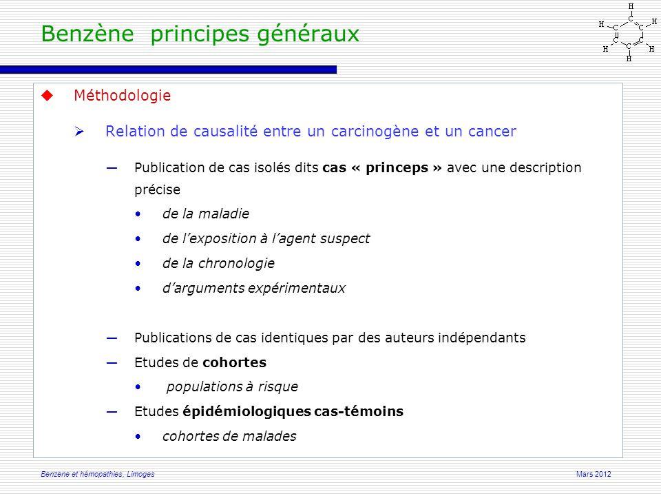 Mars 2012Benzene et hémopathies, Limoges  Méthodologie  Critères de Hills (1989) ―La puissance de l'association en terme de significativité.