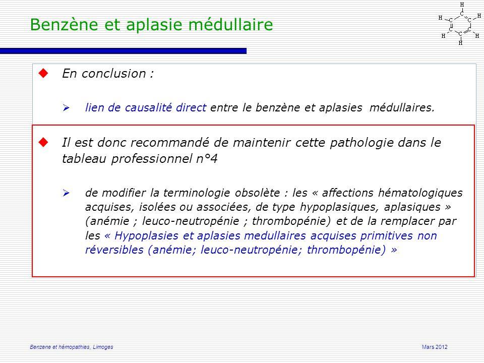 Mars 2012Benzene et hémopathies, Limoges  En conclusion :  lien de causalité direct entre le benzène et aplasies médullaires.
