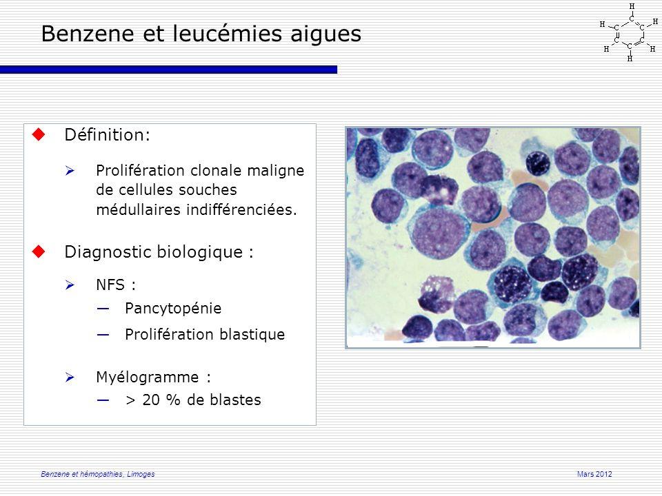 Mars 2012Benzene et hémopathies, Limoges Benzene et leucémies aigues  Définition:  Prolifération clonale maligne de cellules souches médullaires indifférenciées.