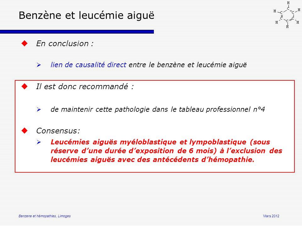 Mars 2012Benzene et hémopathies, Limoges  En conclusion :  lien de causalité direct entre le benzène et leucémie aiguë  Il est donc recommandé :  de maintenir cette pathologie dans le tableau professionnel n°4  Consensus:  Leucémies aiguës myéloblastique et lympoblastique (sous réserve d'une durée d'exposition de 6 mois) à l'exclusion des leucémies aiguës avec des antécédents d'hémopathie.