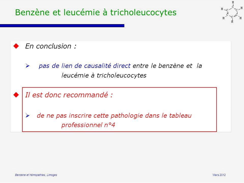 Mars 2012Benzene et hémopathies, Limoges Benzène et leucémie à tricholeucocytes  En conclusion :  pas de lien de causalité direct entre le benzène et la leucémie à tricholeucocytes  Il est donc recommandé :  de ne pas inscrire cette pathologie dans le tableau professionnel n°4