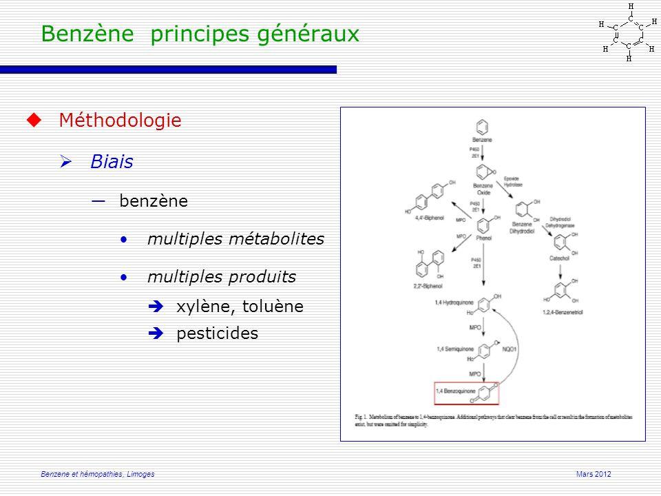 Mars 2012Benzene et hémopathies, Limoges  Méthodologie  Biais ―benzène multiples métabolites multiples produits  xylène, toluène  pesticides Benzène principes généraux