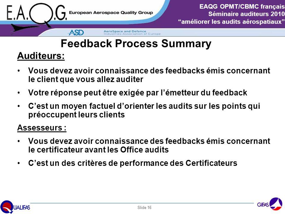 """Slide 16 EAQG OPMT/CBMC français Séminaire auditeurs 2010 """"améliorer les audits aérospatiaux"""" Feedback Process Summary Auditeurs: Vous devez avoir con"""