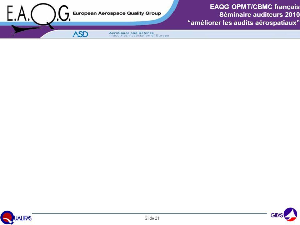 """Slide 21 EAQG OPMT/CBMC français Séminaire auditeurs 2010 """"améliorer les audits aérospatiaux"""" Exemples CBs français : « Paragraphe 7.5.1.3 de l'EN 910"""