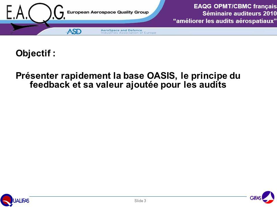 Slide 4 EAQG OPMT/CBMC français Séminaire auditeurs 2010 améliorer les audits aérospatiaux BASE DE DONNEES - Organismes d 'Accréditation mandatés - Organismes de Certification mandatés - auditeurs Aéro certifiés - Organismes de formation certifiés - Sociétés certifiées séries EN9100 Niveau Internation al Procédure Locale Comité de Surveillance ASD Comité de Surveillance IAQG ASD QC IAQG EA IAF Document 9104 Organismes de formation Auditeurs CRB NAIA Niveau Européen Niveau National AmeriquesAsie NAB AmeriquesAsie Certificat EN 9100...