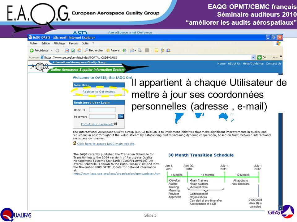 """Slide 5 EAQG OPMT/CBMC français Séminaire auditeurs 2010 """"améliorer les audits aérospatiaux"""" Il appartient à chaque Utilisateur de mettre à jour ses c"""