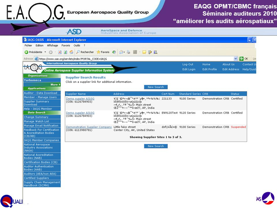 """Slide 8 EAQG OPMT/CBMC français Séminaire auditeurs 2010 """"améliorer les audits aérospatiaux"""""""