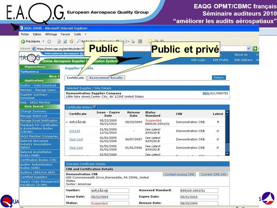 """Slide 9 EAQG OPMT/CBMC français Séminaire auditeurs 2010 """"améliorer les audits aérospatiaux"""" Public Public et privé"""