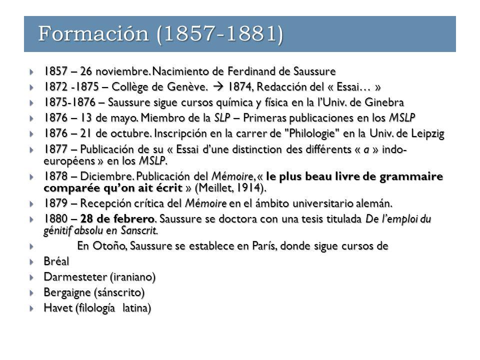 Formación (1857-1881) Enseñanza - París (1881-1891) Enseñanza - Ginebra (1891-1912) Formación (1857-1881)  1857 – 26 noviembre. Nacimiento de Ferdina
