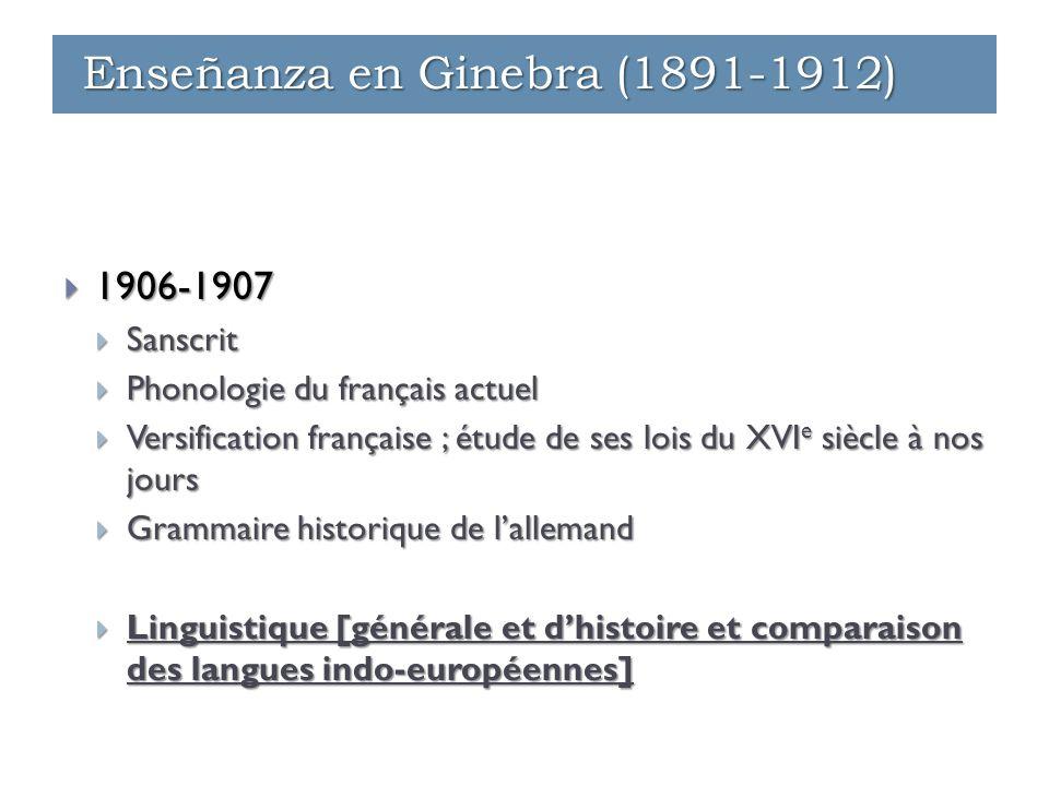  1906-1907  Sanscrit  Phonologie du français actuel  Versification française ; étude de ses lois du XVI e siècle à nos jours  Grammaire historiqu