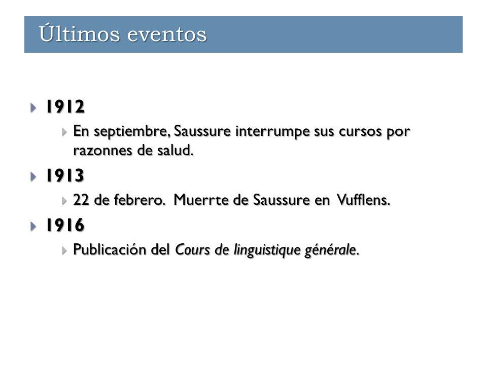 Últimos eventos  1912  En septiembre, Saussure interrumpe sus cursos por razonnes de salud.  1913  22 de febrero. Muerrte de Saussure en Vufflens.