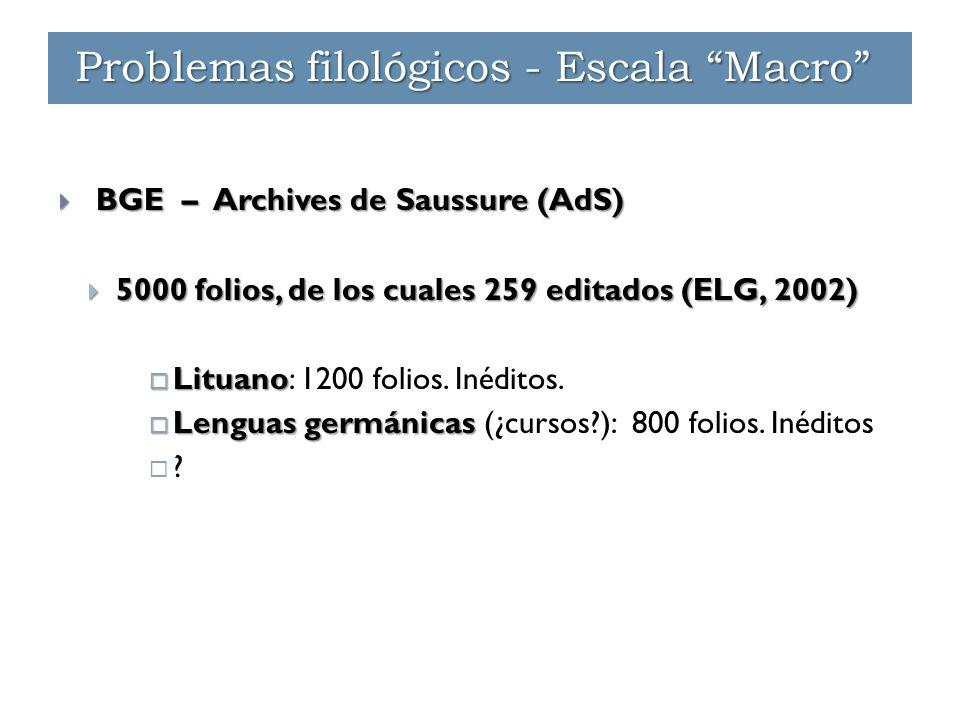  BGE – Archives de Saussure (AdS)  5000 folios, de los cuales 259 editados (ELG, 2002)  Lituano  Lituano: 1200 folios. Inéditos.  Lenguas germáni