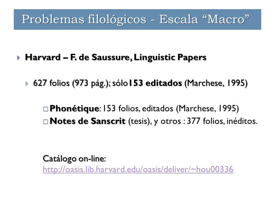  Harvard – F. de Saussure, Linguistic Papers  627 folios (973 pág.); sólo153 editados (Marchese, 1995)  Phonétique  Phonétique: 153 folios, editad