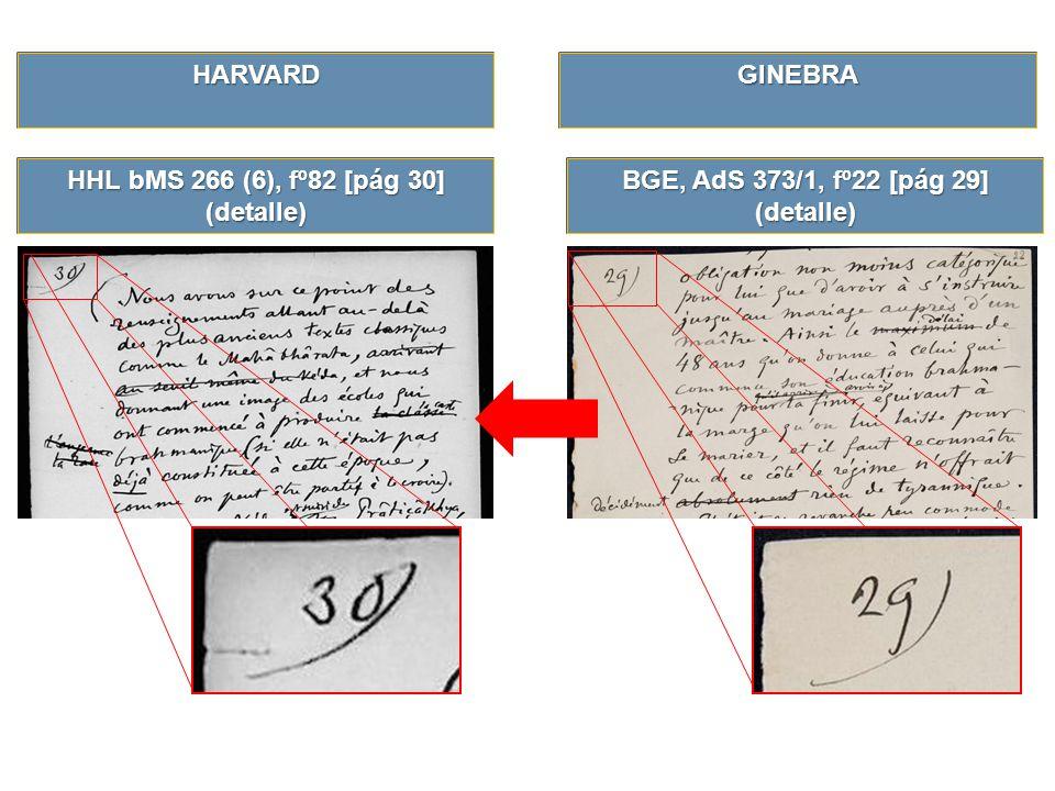 HHL bMS 266 (6), fº82 [pág 30] (detalle) BGE, AdS 373/1, fº22 [pág 29] (detalle) GINEBRAHARVARD
