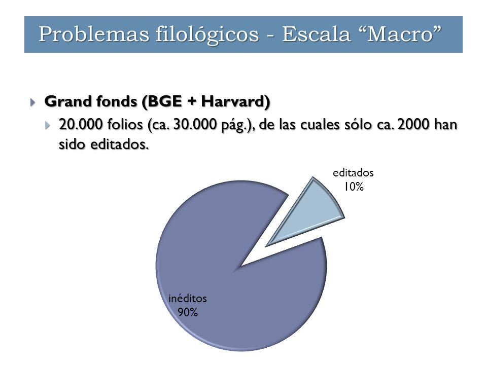 """Problemas filológicos - Escala """"Macro""""  Grand fonds (BGE + Harvard)  20.000 folios (ca. 30.000 pág.), de las cuales sólo ca. 2000 han sido editados."""