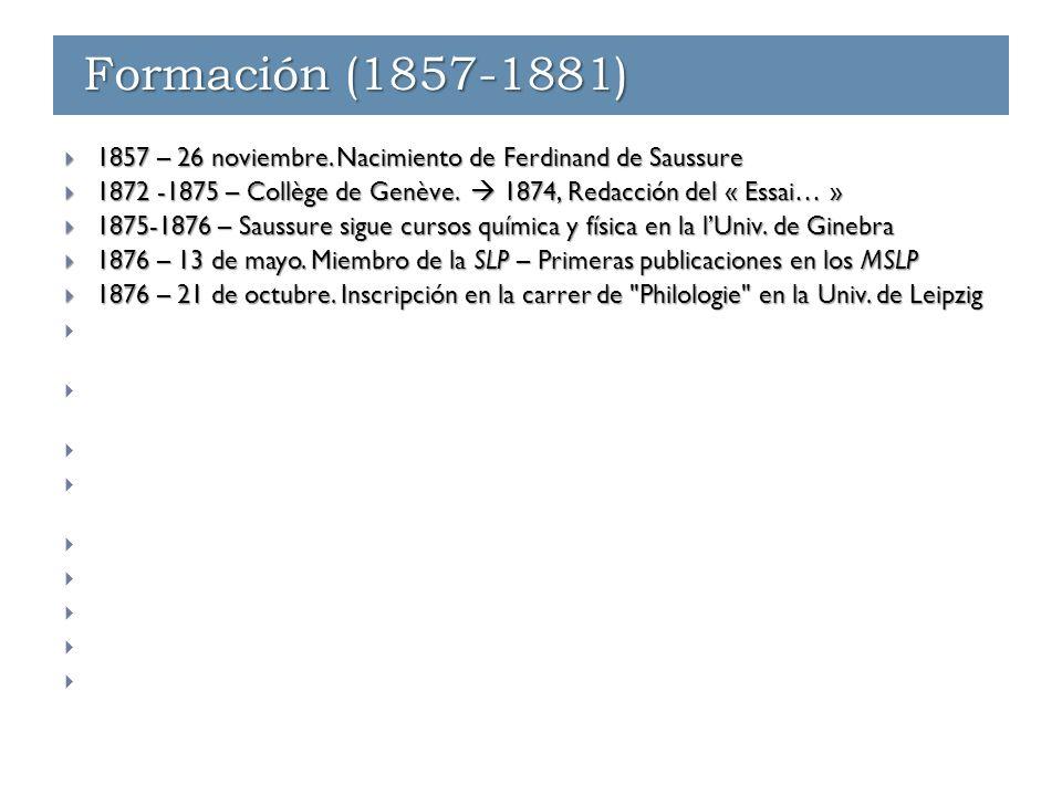 Últimos eventos  1912  En septiembre, Saussure interrumpe sus cursos por razonnes de salud.