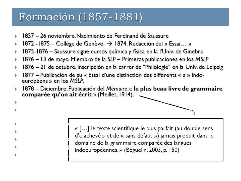 Formación (1857-1881) « […] le texte scientifique le plus parfait (au double sens d'« achevé » et de « sans défaut ») jamais produit dans le domaine de la grammaire comparée des langues indoeuropéennes.