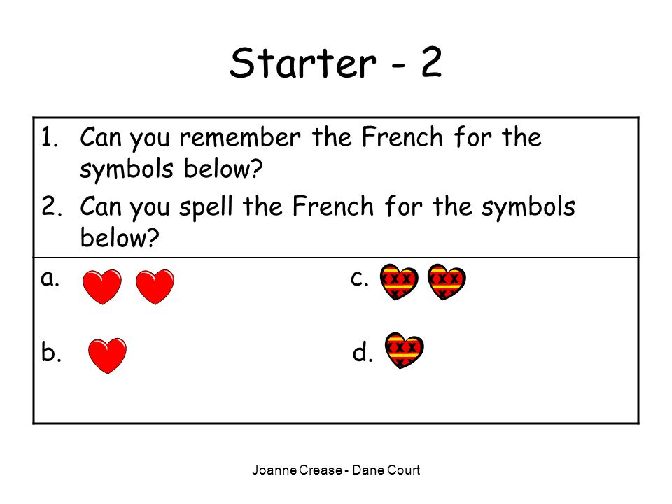 Joanne Crease - Dane Court Starter - 2 1.Can you remember the French for the symbols below.