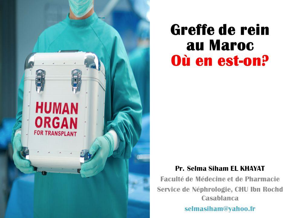 Greffe de rein au Maroc Où en est-on? Pr. Selma Siham EL KHAYAT Faculté de Médecine et de Pharmacie Service de Néphrologie, CHU Ibn Rochd Casablanca s