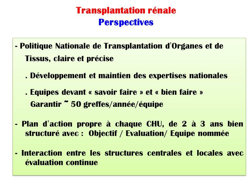 Transplantation rénale Perspectives - Politique Nationale de Transplantation d'Organes et de Tissus, claire et précise. Développement et maintien des