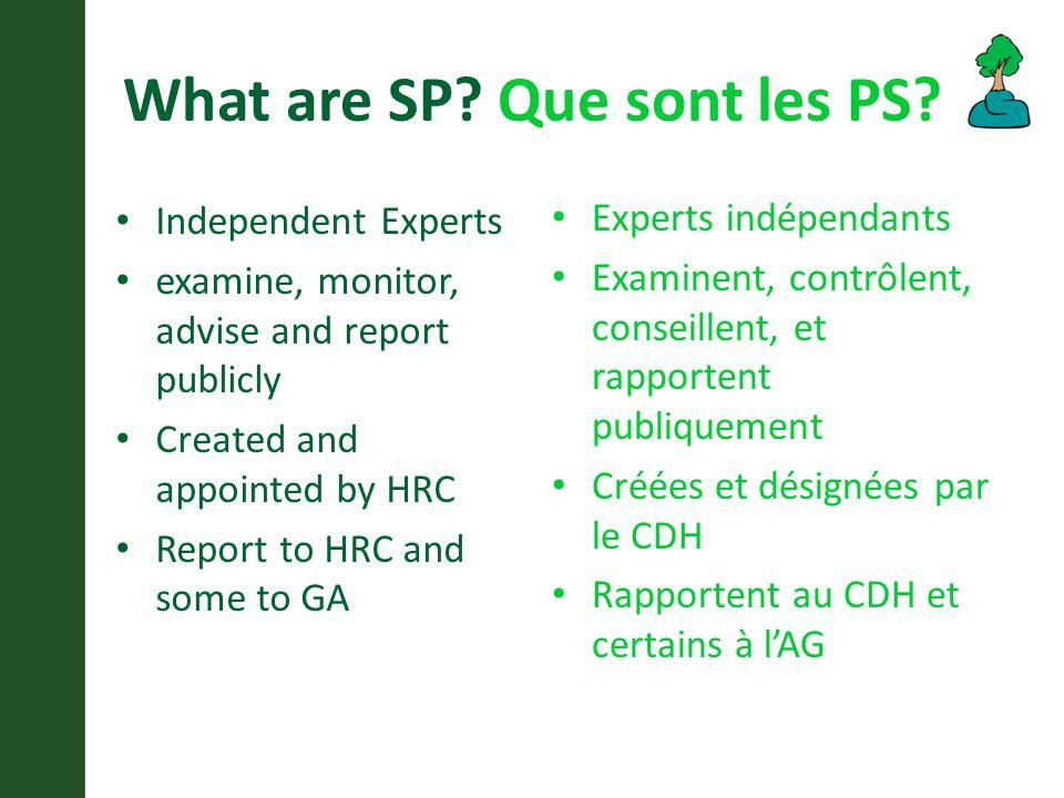 What are SP. Que sont les PS.