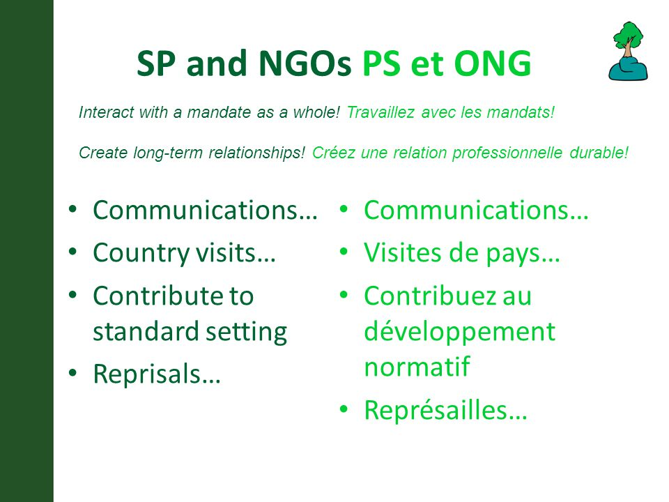 SP and NGOs PS et ONG Communications… Country visits… Contribute to standard setting Reprisals… Communications… Visites de pays… Contribuez au développement normatif Représailles… Interact with a mandate as a whole.