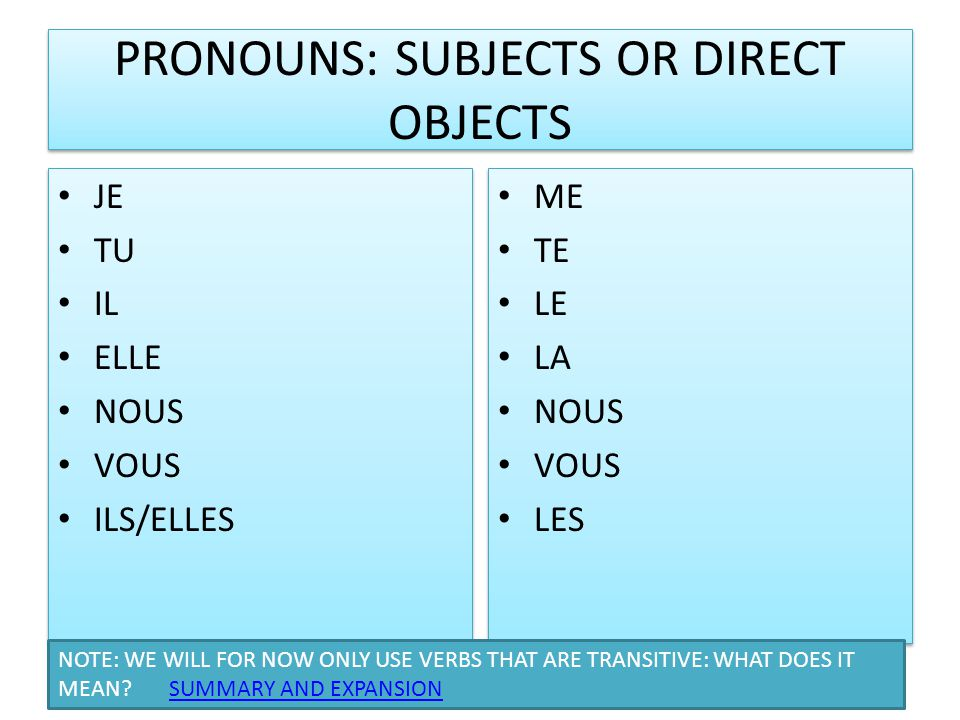 PRONOUNS: SUBJECTS OR DIRECT OBJECTS JE TU IL ELLE NOUS VOUS ILS/ELLES JE TU IL ELLE NOUS VOUS ILS/ELLES ME TE LE LA NOUS VOUS LES ME TE LE LA NOUS VOUS LES NOTE: WE WILL FOR NOW ONLY USE VERBS THAT ARE TRANSITIVE: WHAT DOES IT MEAN.