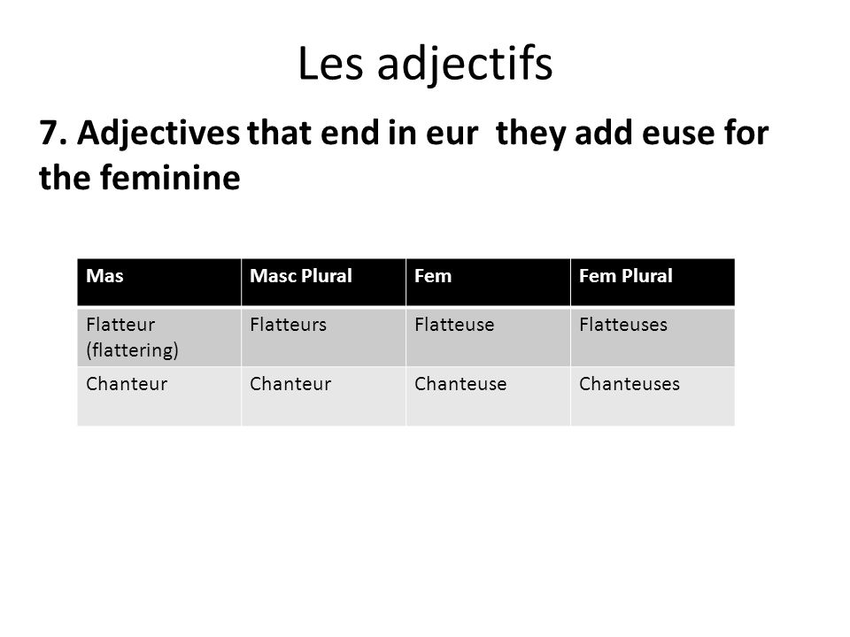 Les adjectifs 7. Adjectives that end in eur they add euse for the feminine MasMasc PluralFemFem Plural Flatteur (flattering) FlatteursFlatteuseFlatteu