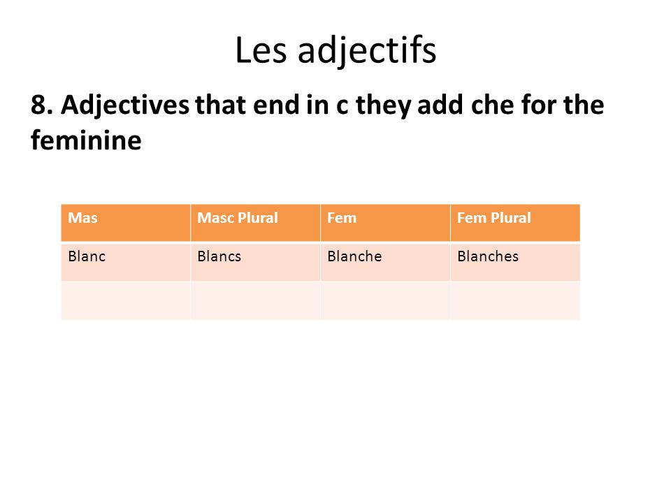 Les adjectifs 8. Adjectives that end in c they add che for the feminine MasMasc PluralFemFem Plural BlancBlancsBlancheBlanches