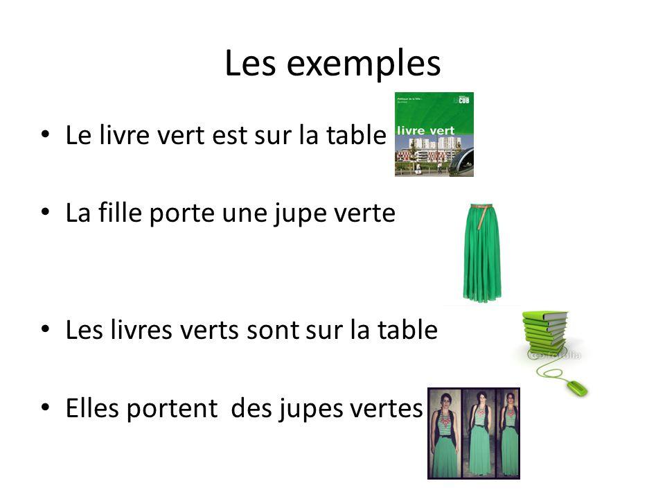 Le livre vert est sur la table La fille porte une jupe verte Les livres verts sont sur la table Elles portent des jupes vertes
