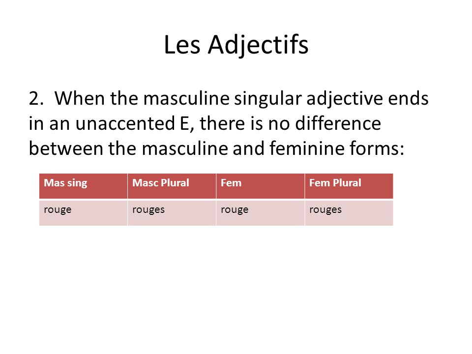 Les Adjectifs 2. When the masculine singular adjective ends in an unaccented E, there is no difference between the masculine and feminine forms: Mas s