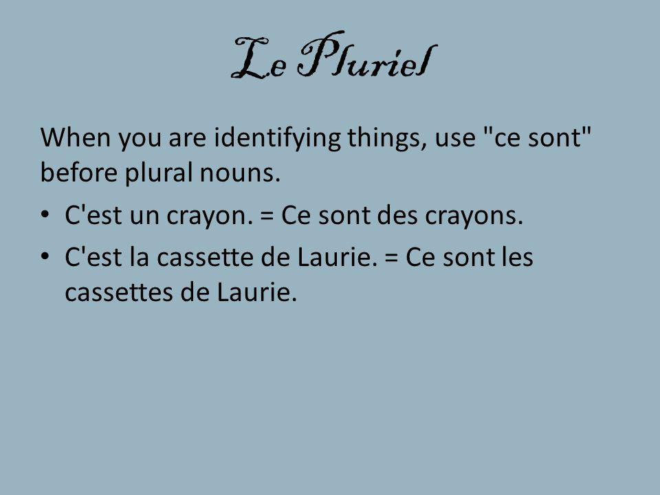 Le Pluriel When you are identifying things, use