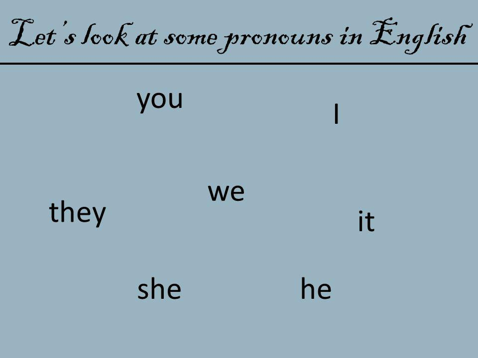 Let's look at some pronouns in English they I you heshe we it