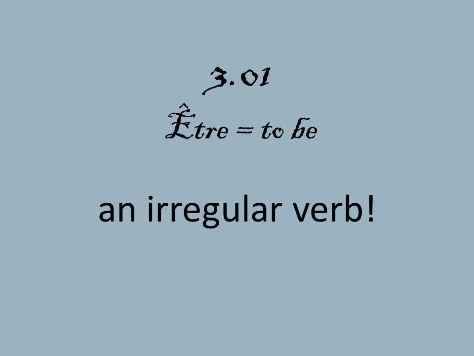 3.01 Être = to be an irregular verb!