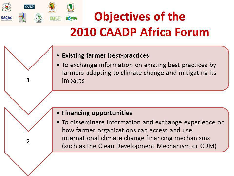 3 Technology dissemination To share information (and develop an inventory) on existing mitigation and adaptation technologies that can be used by small holder farmers (such as water management technologies, agricultural input technologies, energy generation technologies etc) 4 Policy To help Farmer Organizations use the CAADP framework to advance national and regional policy agendas towards supporting the adaptation to, and mitigation against climate change among small farmers Objectives of the 2010 CAADP Africa Forum