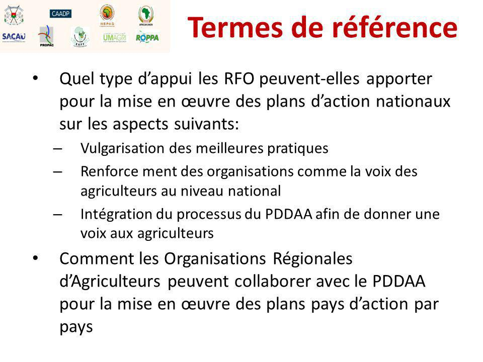 Termes de référence Quel type d'appui les RFO peuvent-elles apporter pour la mise en œuvre des plans d'action nationaux sur les aspects suivants: – Vulgarisation des meilleures pratiques – Renforce ment des organisations comme la voix des agriculteurs au niveau national – Intégration du processus du PDDAA afin de donner une voix aux agriculteurs Comment les Organisations Régionales d'Agriculteurs peuvent collaborer avec le PDDAA pour la mise en œuvre des plans pays d'action par pays