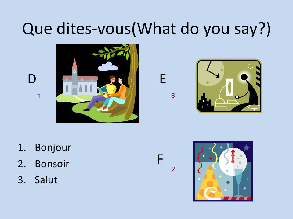 Que dites-vous(What do you say?) 1.Bonjour 2.Bonsoir. 3.Salut. DE F