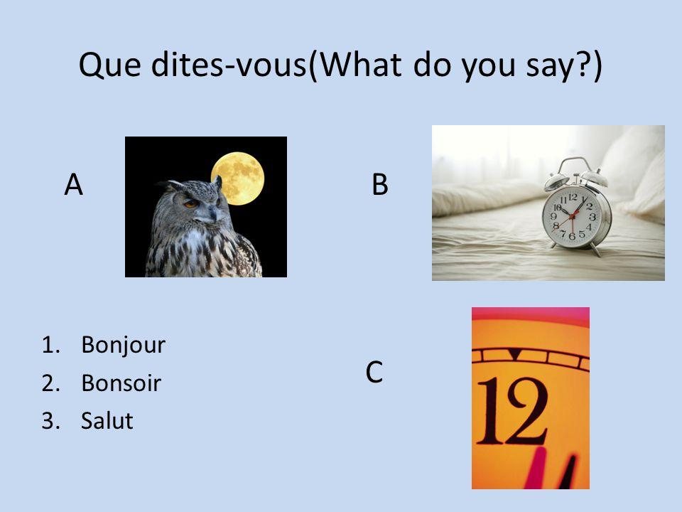 Que dites-vous(What do you say?) 1.Bonjour 2.Bonsoir 3.Salut A B C