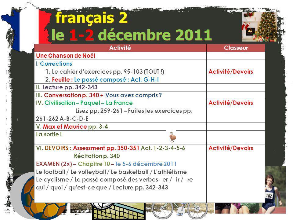 français 2 le 1-2 décembre 2011 ActivitéClasseur Une Chanson de Noël I.