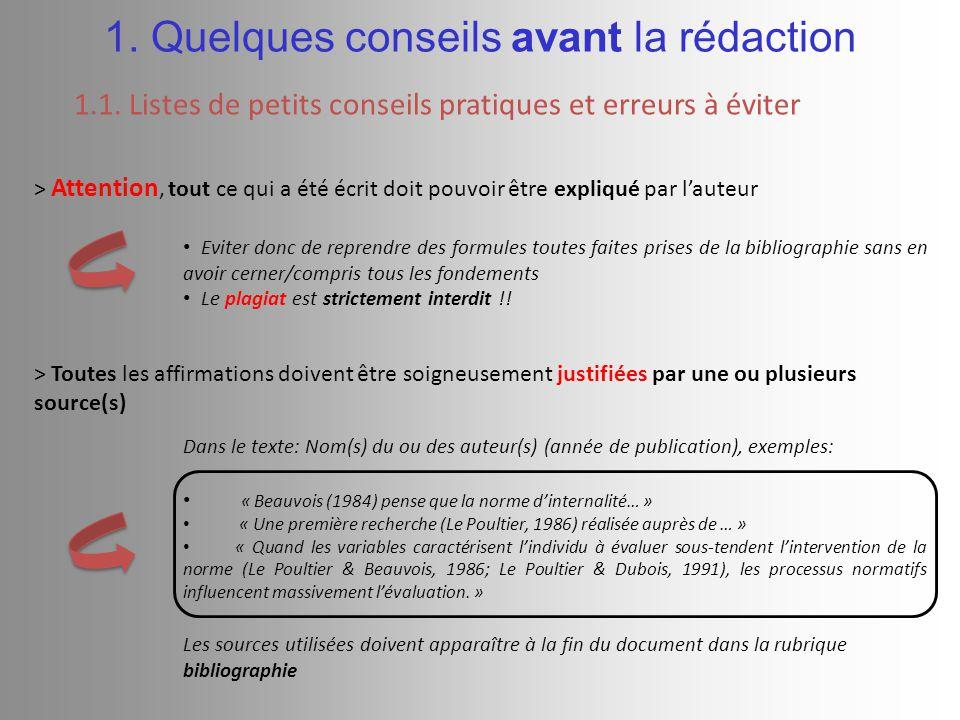 > Toutes les affirmations doivent être soigneusement justifiées par une ou plusieurs source(s) Dans le texte: Nom(s) du ou des auteur(s) (année de publication), exemples: « Beauvois (1984) pense que la norme d'internalité… » « Une première recherche (Le Poultier, 1986) réalisée auprès de … » « Quand les variables caractérisent l'individu à évaluer sous-tendent l'intervention de la norme (Le Poultier & Beauvois, 1986; Le Poultier & Dubois, 1991), les processus normatifs influencent massivement l'évaluation.
